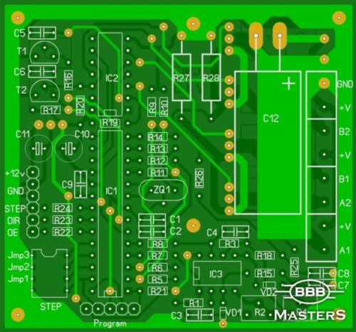 Печатная плата блока контроллера шагового двигателя